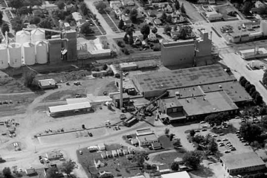 Aerial view, Jolly Green Giant Headquarters and surrounding area, Blue Earth