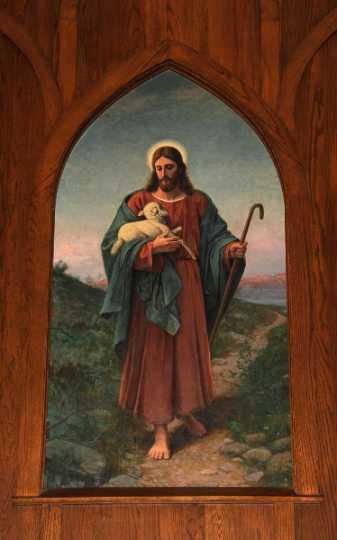 "Painting by Herbjorn Gausta titled ""The Good Shepherd,"" 1885–1895."