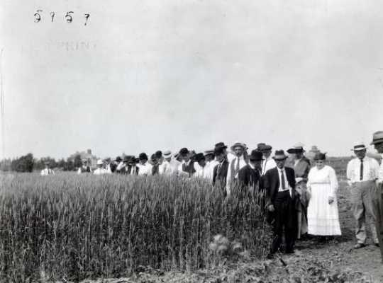 Black and white photograph of a group touring Northwest Experiment Station.