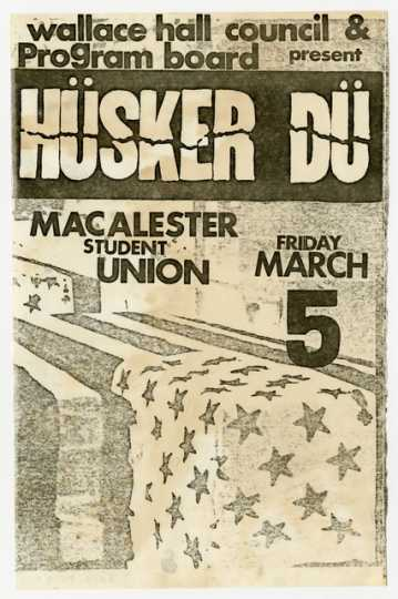 Photograph of early Hüsker Dü handbill, Macalester Student Union, 1982