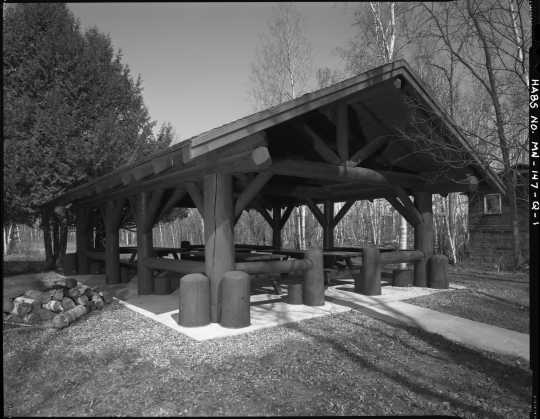 The picnic shelter at CCC Camp Rabideau F-50. Photo by Jerry Mathiason, 1994. From box 1 (144.G.8.4F) of Historic American Buildings Survey records related to Minnesota structures, 1882-2001, 1883. Manuscripts Collection, Minnesota Historical Society, St. Paul.