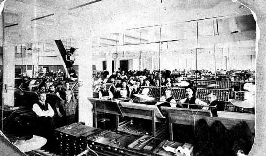 Black and white photograph of typesetters at West Publishing Company before the introduction of Linotype machines, 1885.
