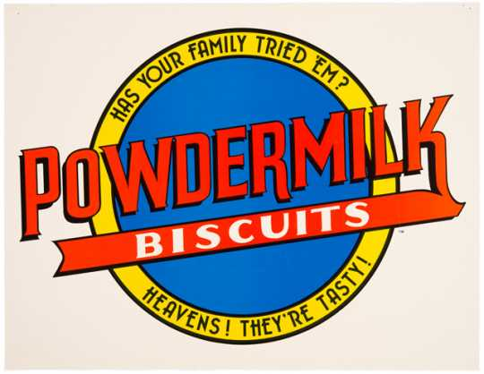 An advertisement for Powdermilk Biscuits (undated), one of A Prairie Home Companion's many fictional sponsors.