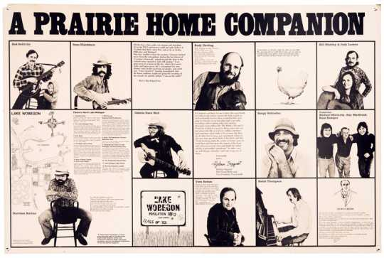 A poster advertising A Prairie Home Companion band members and several fictional sponsors, ca. 1970s.