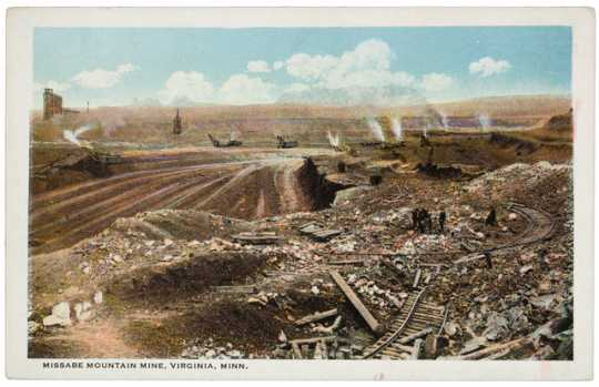 Missabe Mountain Mine, Virginia, ca. 1920. The mine was the first to be purchased by Henry Oliver and it formed the backbone on which Oliver Mining Company was built. In 2019, the it is part of the Rouchleau pit complex.