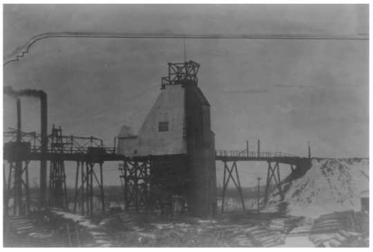 Black and white photograph of the Milford Mine, 1936.