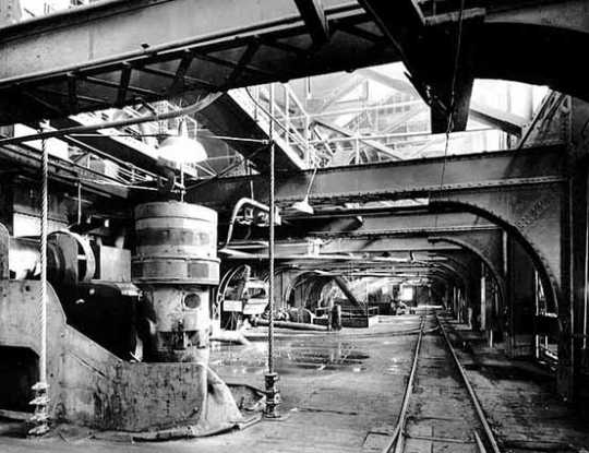 Inside the Trout Lake Concentrator, Oliver's large ore beneficiation plant located in the Canisteo District of the Mesabi Iron Range (Coleraine, Minnesota), ca. 1940.