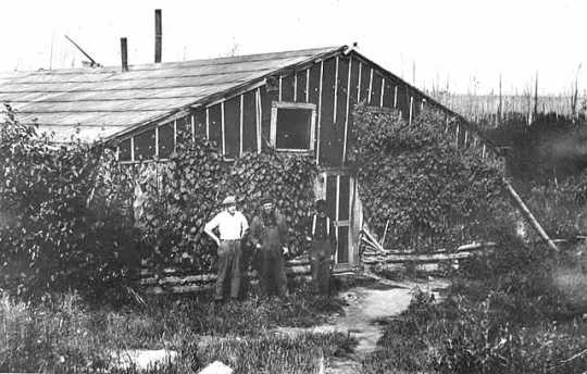 Cookhouse at Sulphur Camp, 1916. Sulphur Camp was the location of early taconite research, near current-day Babbitt, Minnesota.  Peter Mitchell, a prospector from Michigan, explored the area and found that taconite was plentiful on this part of the Iron Range.