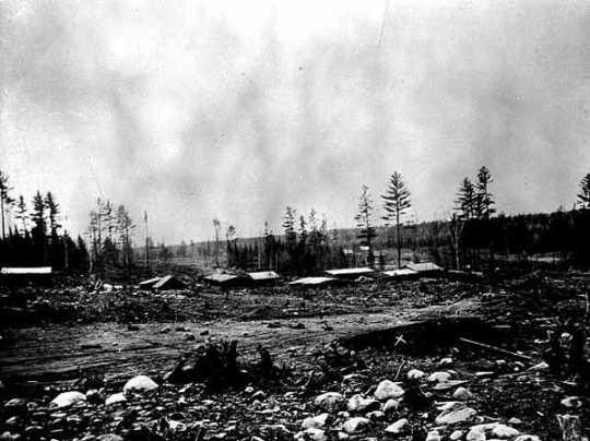 Black and white photograph of first mine on Mesabi Range, near Mountain Iron, c.1892.