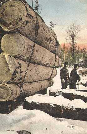 Colorized image of a sleigh load of big White Pine logs about to be tripped, Virginia and Rainy Lake County, Virginia, ca. 1920.