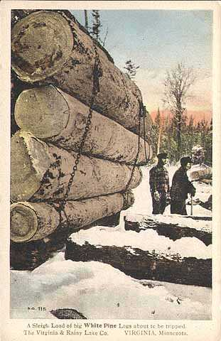 A sleigh load of white pine logs about to be tripped, Virginia and Rainy Lake Company, ca. 1920.