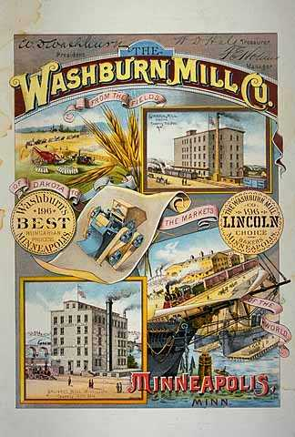 One-sheet poster advertising the Washburn Mills in Minneapolis, 1889.
