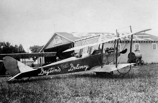Black and white photograph of Curtiss aircraft used for Dayton's merchandise delivery, 1922.