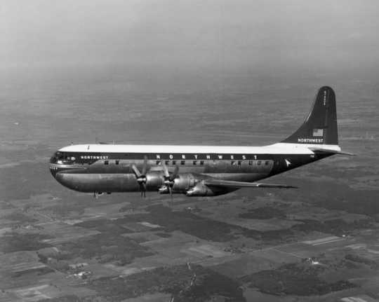 Black and white photograph of Northwest Airlines Stratocruiser, c.1955. Photographed by Don Berg Photography.