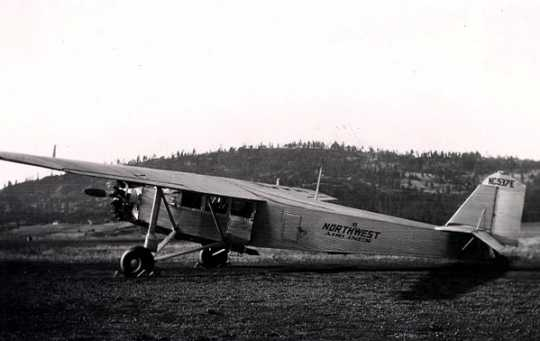 Black and white photograph of a Northwest Airlines monoplane, 1930. Photographed by Leo J. Kohn.