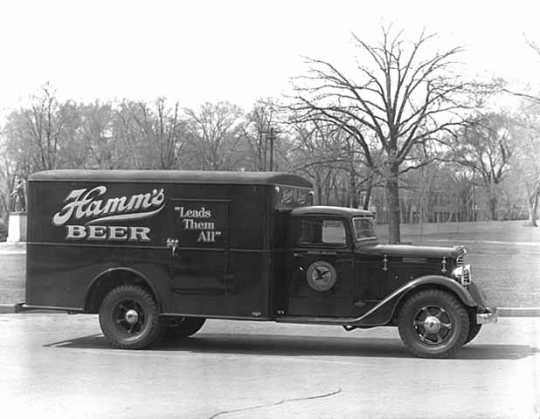 Hamm's Brewery distribution truck, ca. 1933. Hamm's owned trucks would distribute beer to businesses throughout Minnesota.