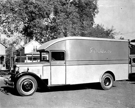 Black and white photograph of a L. S. Donaldson Company delivery truck, c.1930.