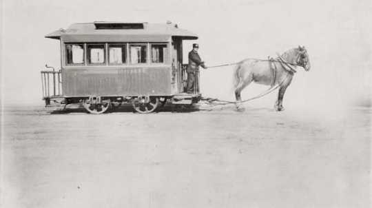 Black and white photograph of the first horsecar in the Twin Cities (St. Paul Street Railway Company), July 15, 1872.
