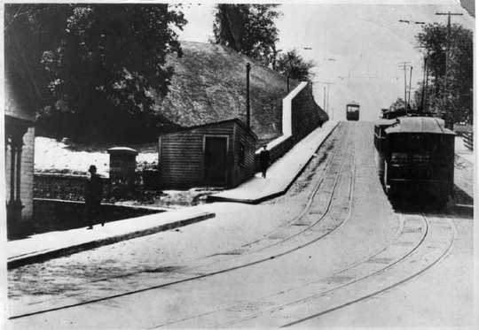 Black and white photograph of able cars on the hill before the Selby Tunnel was dug, c.1895.