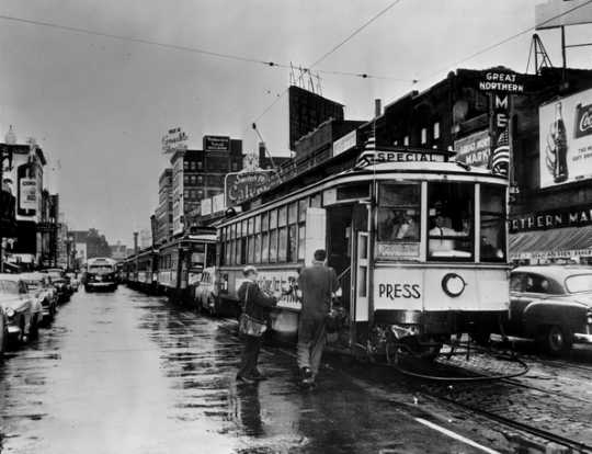 Black and white photograph of the last day of streetcar service in Minneapolis, June 18, 1954.