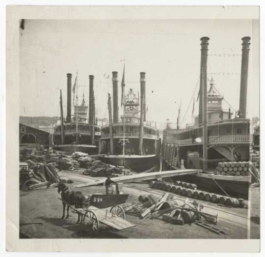 Red Wing, War Eagle, and an unidentified steamboat at the St. Paul levee