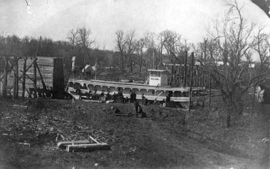 Black and white photograph of the steamboat Selkirk, then owned by the Hills-Griggs Company, on the Red River, 1871.