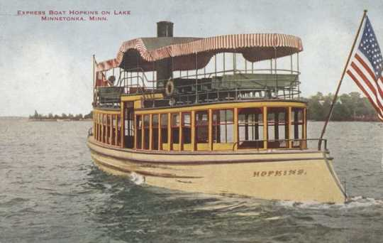 Colorized postcard of a Twin City Rapid Transit Company Express boat Hopkins on Lake Minnetonka, c. 1908.