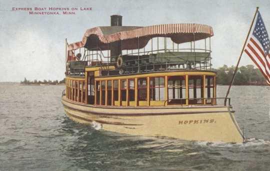 Colorized postcard of a Twin City Rapid Transit Company Express boat Hopkins on Lake Minnetonka, c. 1908.