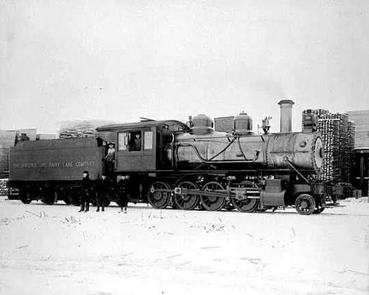 Virginia and Rainy Lake Company locomotive, ca. 1915.