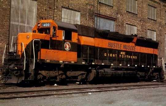 Color image of Great Northern diesel locomotive number 400, 1966. Photograph by Myron T. Gilbertson.
