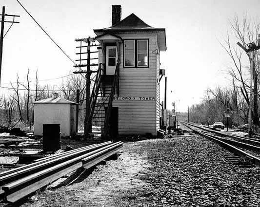 Black and white photograph of the St. Croix tower on Milwaukee Road north of Hastings. Photograph by Richard G. Smedley, 1983.