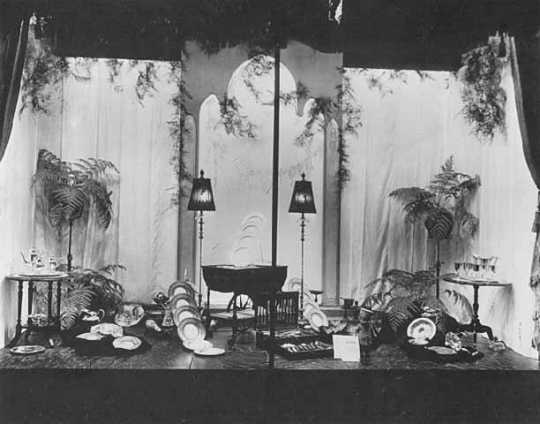 Black and white photograph of window display of gifts for bride, c.1923.