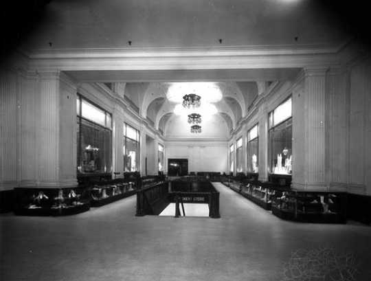 Black and white photograph of the interior of L. S. Donaldson Company's new store, 1924. Photograph by C.J. Hibbard.