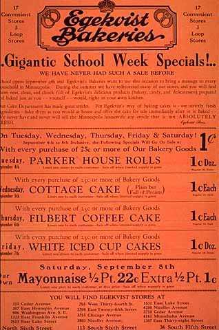Egekvist Bakeries sale poster/flyer c.1928-1930.
