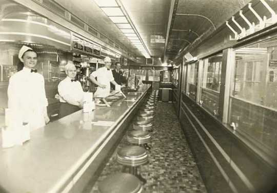 Photograph of the interior of Mickey's Diner taken between 1930 and 1939.