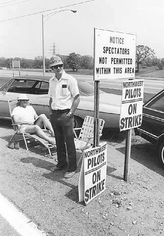 Black and white photograph of Northwest pilots on strike, 1978.