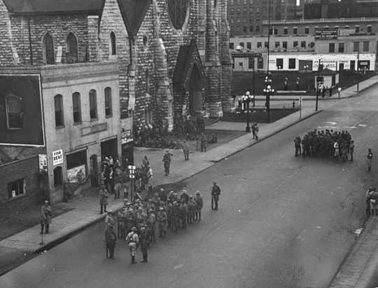Black and white photograph of Strike headquarters, 1934.