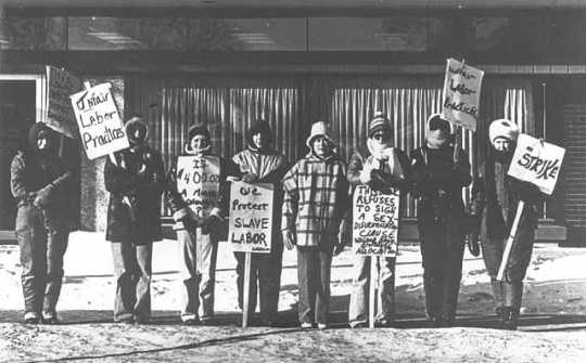 Black and white photograph of the Willmar 8 on strike, c.1977