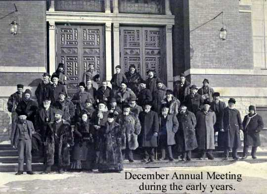 Black and white photograph of attendees at a December annual meeting in the Minnesota State Horticultural Society's early years, ca. 1890s.