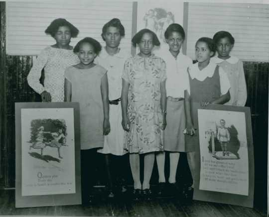 Black and white photograph of a Phyllis Wheatley House Health Program, ca. 1935.