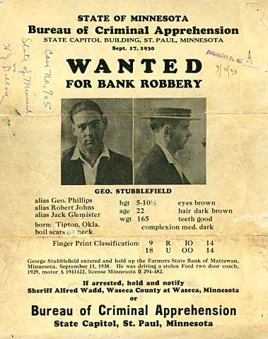 Color scan of a Wanted for Bank Robbery poster, 1930.