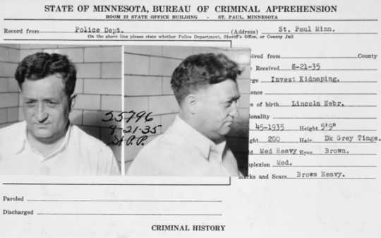 Black and white scan of a St. Paul Police record for Harry Sawyer, 1935.