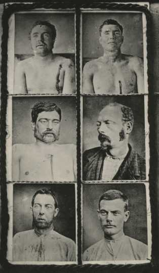Black and white photographs of dead and captured Northfield Raid gang members, produced by Sumner Studio, 1876.