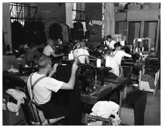 Prisoners working at sewing machines, Minnesota State Prison, Stillwater