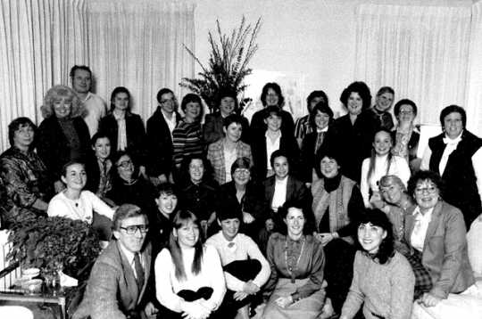 """Photograph of DFLFC members assembled for the """"State of the State"""" address, January 1982"""