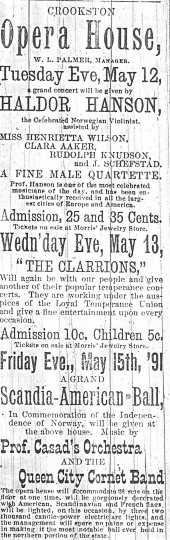 An advertisement in the Crookston Weekly Times for a performance by Norwegian violinist Haldor Hanson on May 13, 1891.