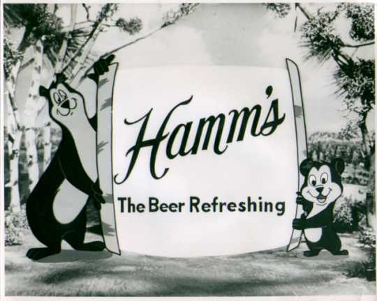 Still image of a Hamm's TV commercial showing the Hamm's bear and little bear, early 1950s.
