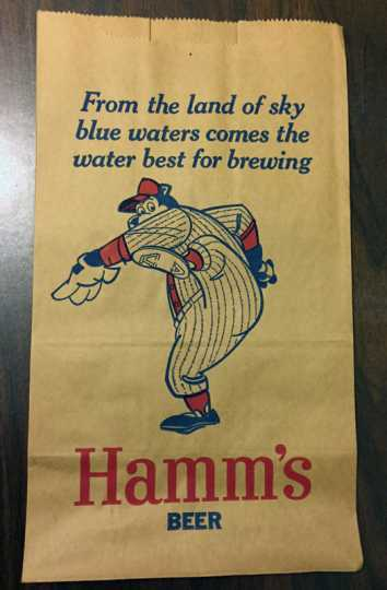 Photograph of promotional paper bag with Hamm's bear