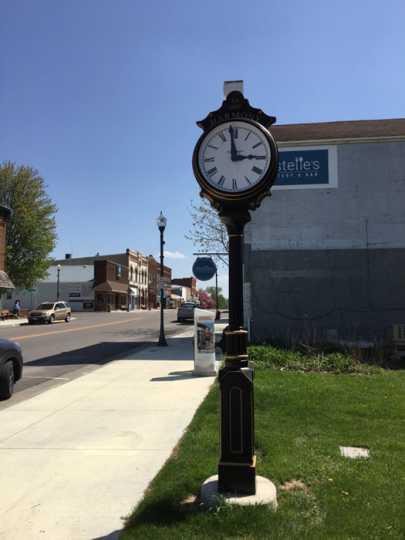 Photograph of Clock at the north entrance of Main Street, Harmony, MN
