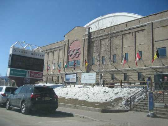 Color image of Herb Brooks Arena at the Olympic Center in Lake Placid, New York. Photographed by Flickr user justinknabb on March 27, 2011.